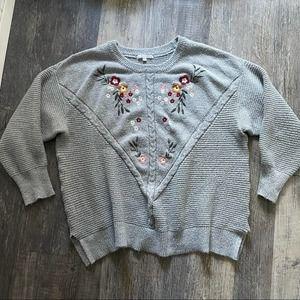 Linda Matthews   Grey Embroidered Sweater